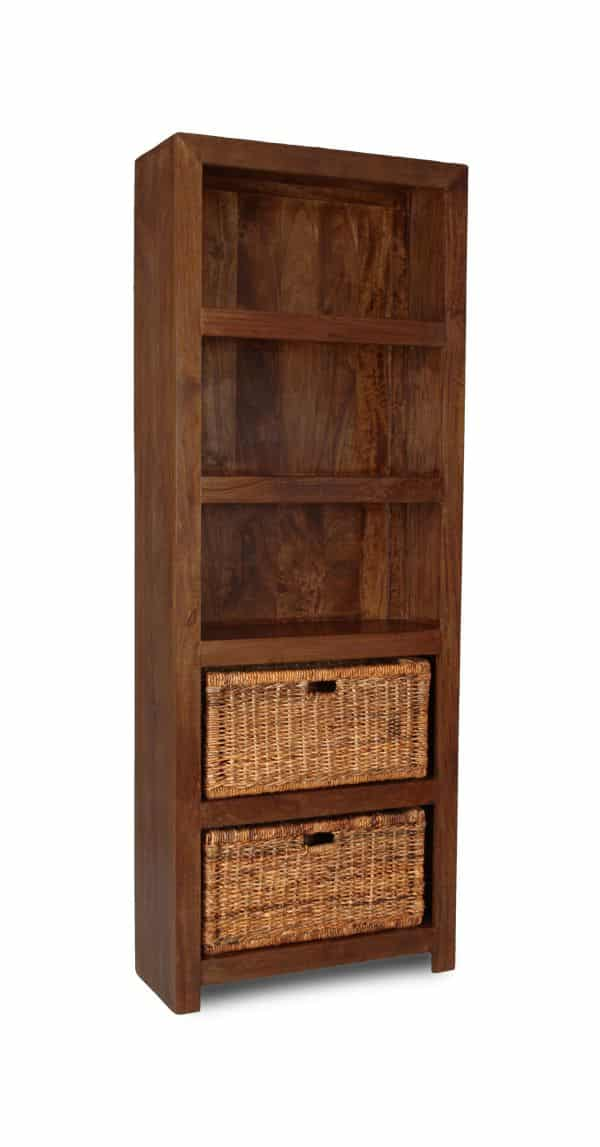 Dakota Tall Shelves with Rattan Baskets