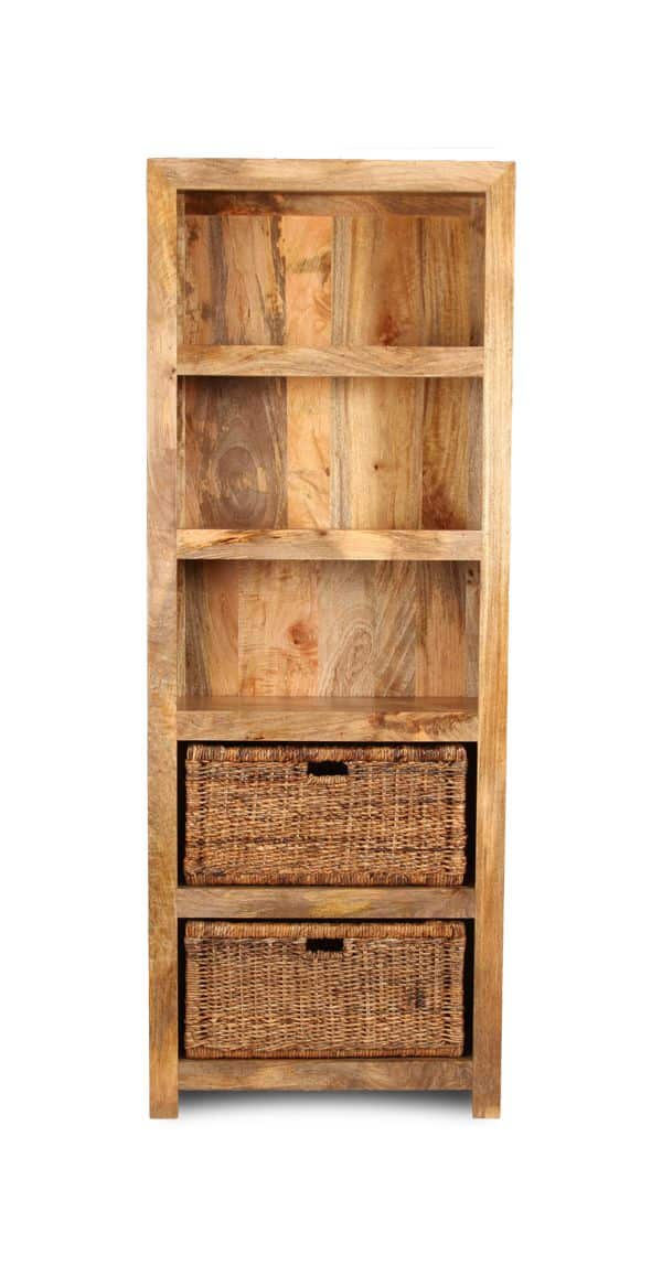 Light Dakota Tall Shelves with Rattan Baskets