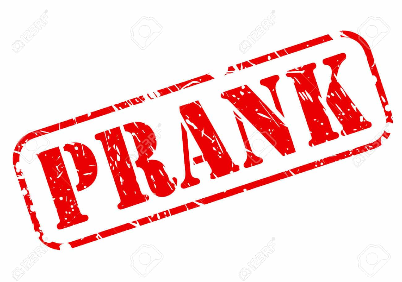A picture of the word 'Prank' which has been stamped.