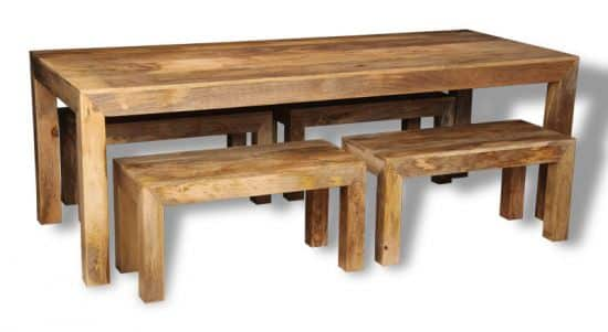 Table with 4 small mango benches