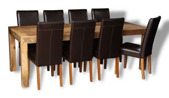 mango table with 8 barcelona chairs