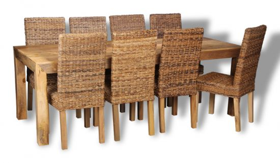 Table and 8 rattan chairs