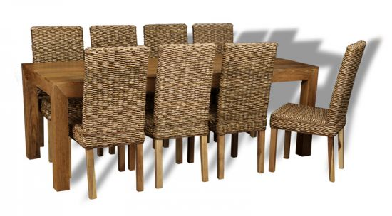 table with 8 rattan dining chairs