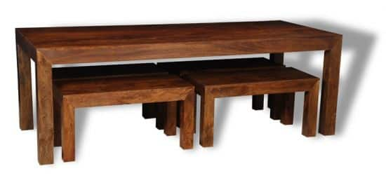 Dining table with 4 Small Mango benches