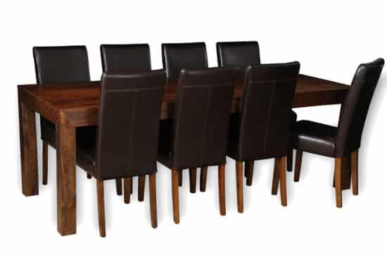 220cm dining table with 8 barcelona chairs
