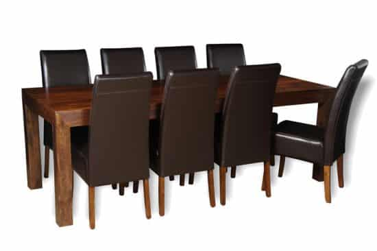 220CM table with 8 madrid chairs