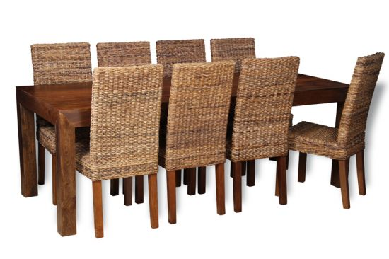 table with 8 rattan chairs