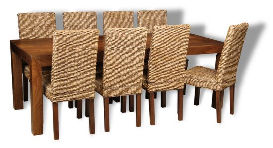 MANGO TABLE WITH 8 RATTAN DINING CHAIRS